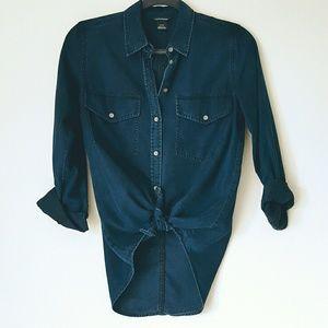 Club Monaco dark wash denim chambray shirt